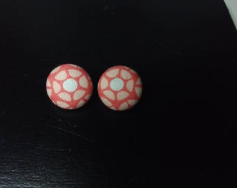 Pink and White Modern Flower Scrap earrings   Upcycled fabric earrings   Cloth Button Stud Earrings   Unique Jewelry