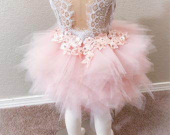 lace flower girl dress, blush pink flower girl dress, first birthday dress, tutu dress,tulle dress,couture dress,infant blush pink dress