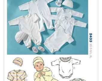 Sewing Pattern for Infants' Rompers, Jumpsuits, Cap & Booties, Kwik Sew Pattern 2433, Onesies, Bodysuits, Baby Layette, Baby Boy, Baby Girl
