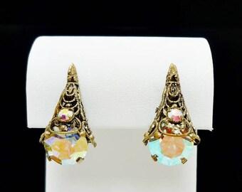 Gold Filigree AB Rhinestone Clip Earrings, Vintage Clip On Earrings, Rhinestone Clip Earrings, Antique Earrings, Costume Jewelry