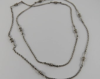 """Sterling Silver 34"""" Station Link Chain"""