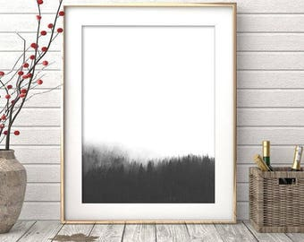 Forest Print, Forest Art, Minimalist Wall Art, Black and White Forest, Modern Art, Minimalist Art, Trees, Affiche scandinave, Nordic Art