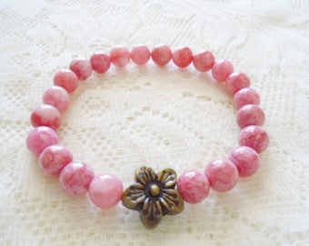 Rhodonite Flower Mala bracelet, Gemstone Healing bracelet