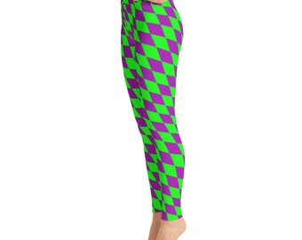 Mardi Gras Leggings - Diamond Checkered Mardi Gras Leggings - Mardi Gras Costume - Yoga Leggings - Patterned Leggings - Print Leggings