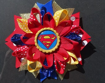 Superman Supergirl Loopy Bow