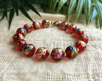 Red Statement Bracelet - Statement Bracelet - Red Bracelet - Gift For Her - Statement Jewelry - Chunky Bracelet - Boho Bracelet - Beaded