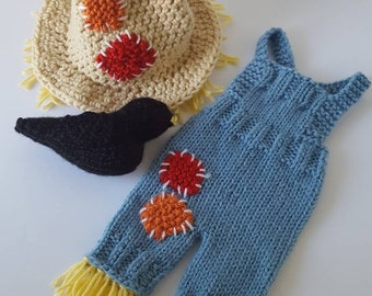 Hand Knit Newborn Size Scarecrow Hat and Overalls Set. MADE TO ORDER. Halloween Photo Prop. Fall Photo Prop. Autumn Newborn Photo Props.