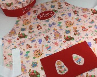 Personalised Cupcake Apron & Pink Chef Hat. Cooking gift, personalised apron, girls apron, kids apron, craft apron, ladies apron, baking