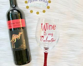 Wine is my Valentine Stemless Glitter Wine Glass // Valentine's Day Stemless Glitter Wine Glass // Glitter Wine Glass // Glitter Glass //