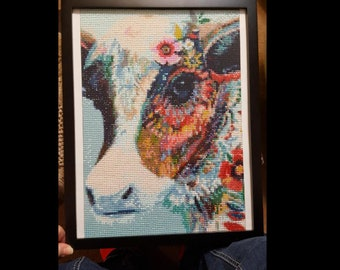 Beautiful Cow, 5D Diamond Painting, Completed & Framed