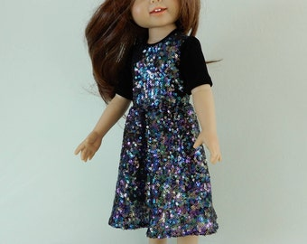 18 inch doll clothes american, Girl doll clothes, 18 inch doll dress, American doll 18 in dress, Girls doll sparkling party dress, Handmade