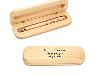 Personalized Maple Wood Pen Set in Case - Laser Engraved Pen in Wooden Box - Customizable Pen with your Text - Office Gift Idea