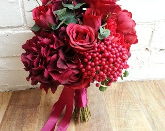 Custom Made to Order Red Artificial Bouquet Featuring Peonies, Hydrangeas, Roses, Anemones