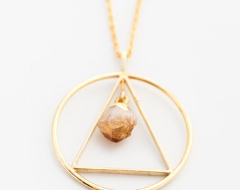 Citrine Point & Gold Pendant on Gold Chain, Citrine Necklace, gold necklace, solar plexus chakra, stone for prosperity and wealth