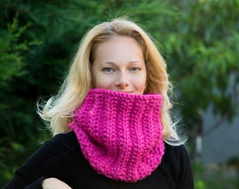 Hot pink scarf chunky scarf for woman scarf knit scarf christmas gift ideas gift for mom loop scarf fall scarf circle scarf fashion scarf