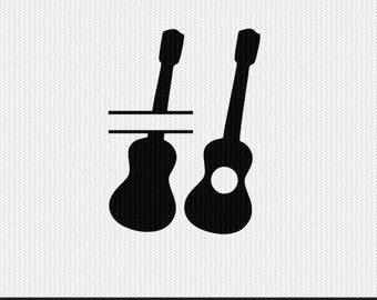 guitar monogram frames svg dxf file instant download silhouette cameo cricut clip art