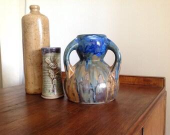 Stoneware vase slub - vintage Vase - Blue Vase - Vase - french vase - stoneware decoration - blue glazed stoneware