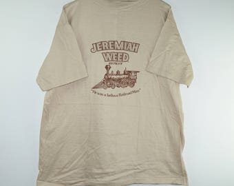 Vintage 1980s Jeremiah Weed Whiskey Alcohol Promo Tan Tee T Shirt - XL