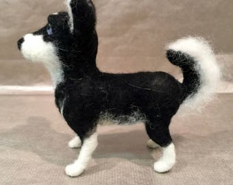 Needle felted dog, felted dog sculpture, husky, dog doll, dog art, pet memorial, pet portrait, Waldorf animal, needle felted dog figurine