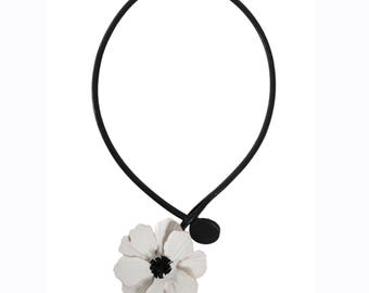 Flower necklace white anemone flower offset right cowhide leather