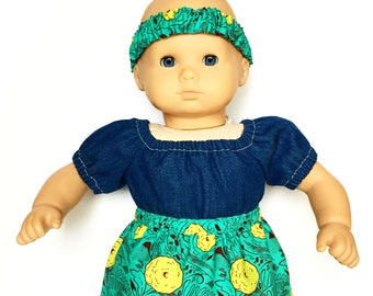 Baby Flare Skirt, Matching Headband, Floral, Teal Blue, Lime Green, Fits dolls such as American Girl, Bitty Baby, 15 inch Doll Clothes