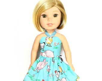 Halter Dress, Farm, Cow Chicken, Pig, Blue, White, Pink, 14.5, Fits dolls such as AG, Wellie Wishers, 14 inch Doll Clothes