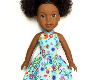 Halter Dress, Garden, Blue, Red, Green, Yellow, 14.5, Fits dolls such as American Girl, Wellie Wishers, 14 inch Doll Clothes