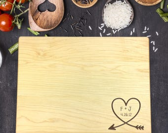 Personalized Cutting Board - Engraved Cutting Board, Custom Cutting Board, Wedding Gift, Housewarming Gift, Anniversary Gift, Heart, B-0049