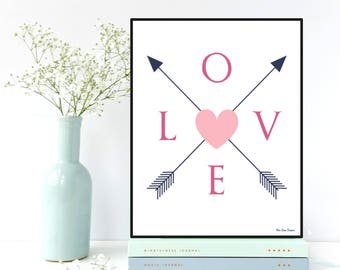 Love letters poster, Arrow wall decor, Arrow poster, Love sign, Nursery decor Children room wall decor, Home wall decor, Positive quote wall