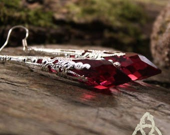 Earrings dangle long medieval wedding esoteric elven Red Crystal point magic wicca pagan Gothic witch