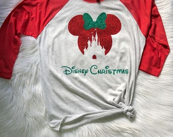 Disney Sparkly CASTLE Baseball Shirt with Disney Christmas, Disney Christmas, Mickeys Very Merry Christmas Party shirt