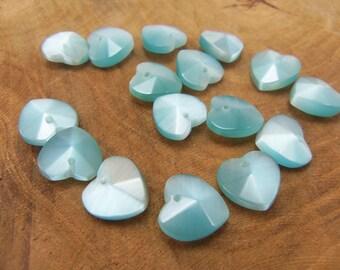 5 glass style beads 10mm cat eye heart shape
