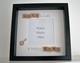 new home gift, house warming gift, scrabble frame, photo frame, picture frame