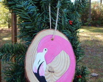 Flamingo Hand painted wood slice ornament
