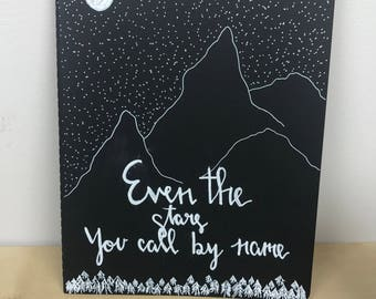 Hand painted journal-Hand lettering-Even the stars call You by name quote-Moleskine journal-Lined journal