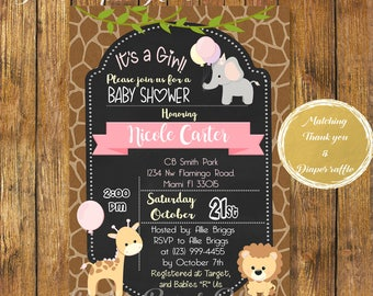 Digital File or Printed, Safari Baby Shower Girl Invitation,Baby Girl Safari,Chalkboard Animals,Jungle Theme Baby Shower Girl,Free Shipping