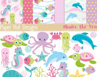 Girls Sea Animal Clipart and Digital Paper Set-Under the Sea Clipart and Papers-Girls Nursery-Dolphin-Turtle-Jelly Fish-Seahorse-Crab-Whale