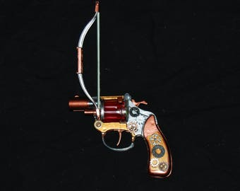 Small Steampunk Costume Cosplay Prop Gun Toy Weapon Arrow Bow Gears Red Barrel Copper Silver Gold Pull Trigger Makes Noise Post Apocalypse