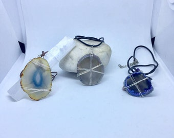 Wire Wrapped Agate Slice Necklaces