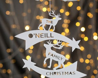 Personalised Reindeer Family Christmas Decoration