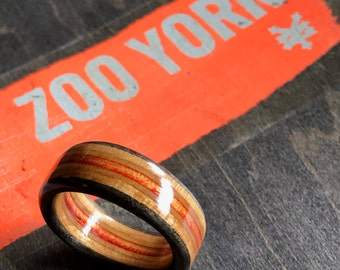 Wooden Ring (Size 9) | Recycled Skateboard Wood Ring - Handmade in Canada
