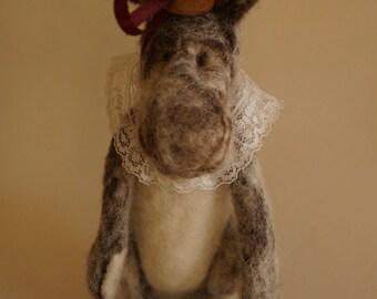 Bunny Rabbit, Needle Felted Rabbit, Needle Felted Animal, Ooak Art Doll, Easter Rabbit, Fiber Art