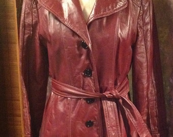 Burgundy Brown Leather vintage women's 1970's  sexy size 10 full length coat