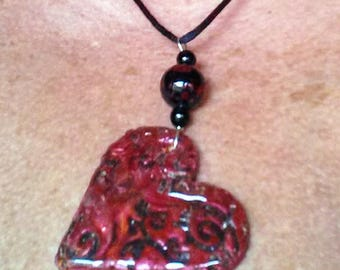 Heart Pendant-Heart Necklace-Handmade Red Polymer Clay Heart Pendant-Love Jewelry-OOAK-Valentine