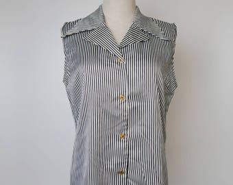 Black White Strip Women Vintage Blouse 1980s Sleeveless Size M