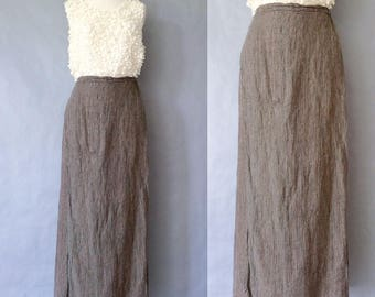 Vintage FLAX linen skirt/maxi skirt women's size M/L