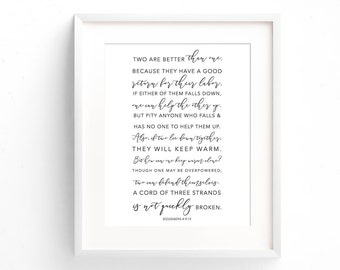 Bible Verse Print - Ecclesiastes 4:9-12 - Two Are Better Than One - Gifts Under 20 - First Anniversary Gift - Typography Print - Home Decor