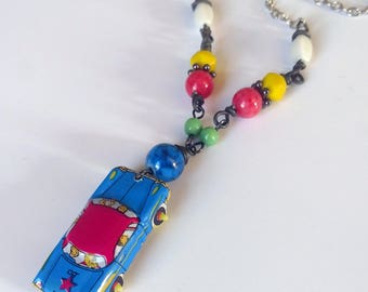 Upcycled Tin Toy Car necklace made from vintage tin litho car