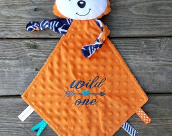 Personalized Baby/Toddler Fox Comfort Blanket - Fox Lovey - Fox Lovie Blanket - Baby Shower Gift - Animal Lovey - Sensory Blanket