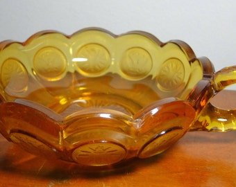 """Fostoria Coin Glass Amber Nappy Candy Dish / Bowl - 2"""" Tall X 6 1/2"""" Diameter W/ Handle - Nice Piece!"""